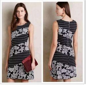 Anthropologie L Maeve Effemey Dress Black Floral